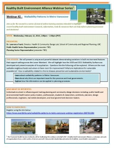 HBEA Webinar Series Webinar #2 - WalkabilityPatterns