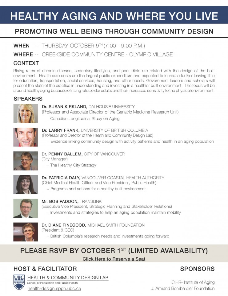 Invitation to Oct 9th Healthy Aging Built Environment Event